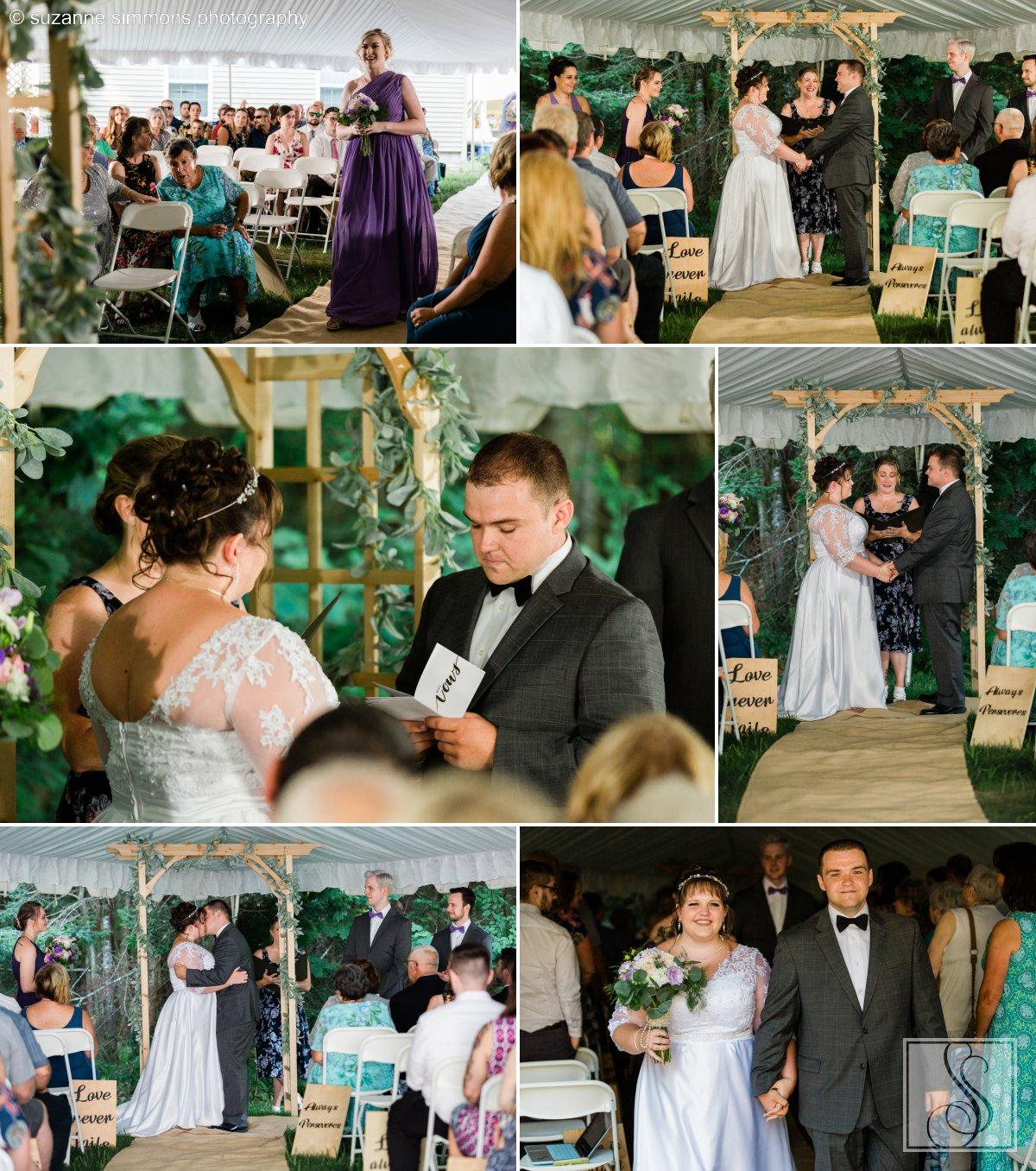 Backyard wedding ceremony in Standish, Maine