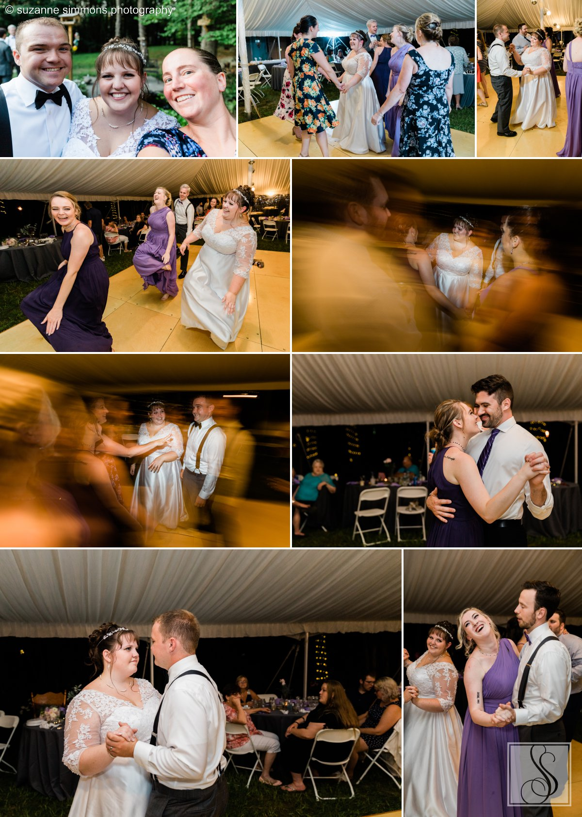Tented backyard wedding reception in Standish, Maine.
