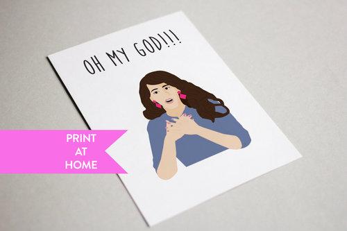 Janice Oh My God Friends TV Show Digital Printable PDF Card
