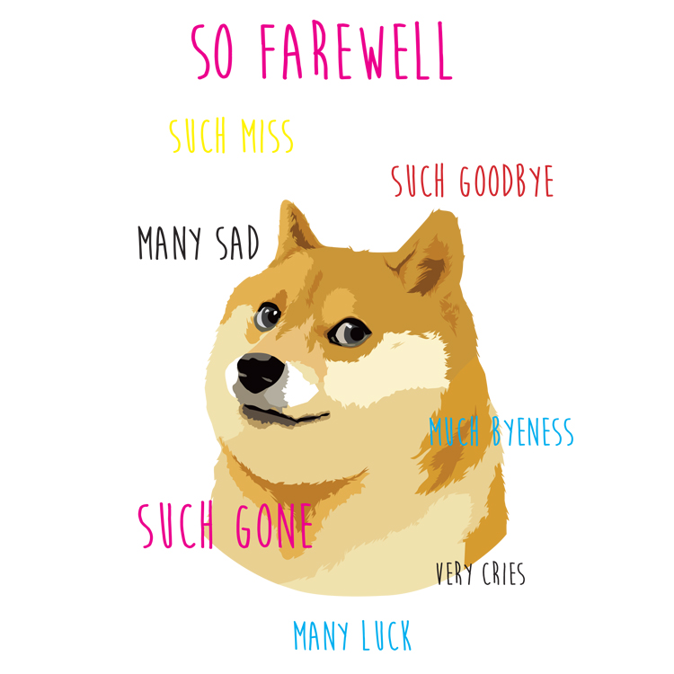 graphic relating to Farewell Card Printable identify Wow Doge \