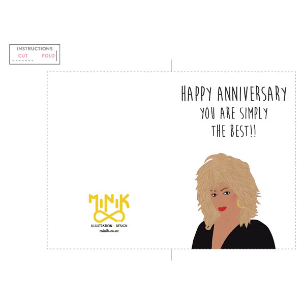 graphic relating to Happy Anniversary Printable Card titled Tina Turner \