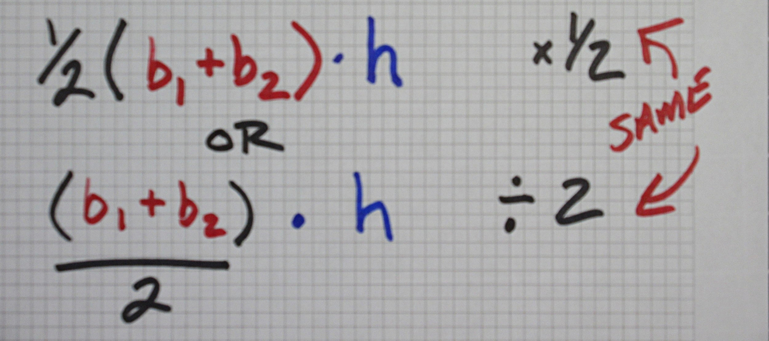 Above: Two different formulas to find Area of Trapezoids