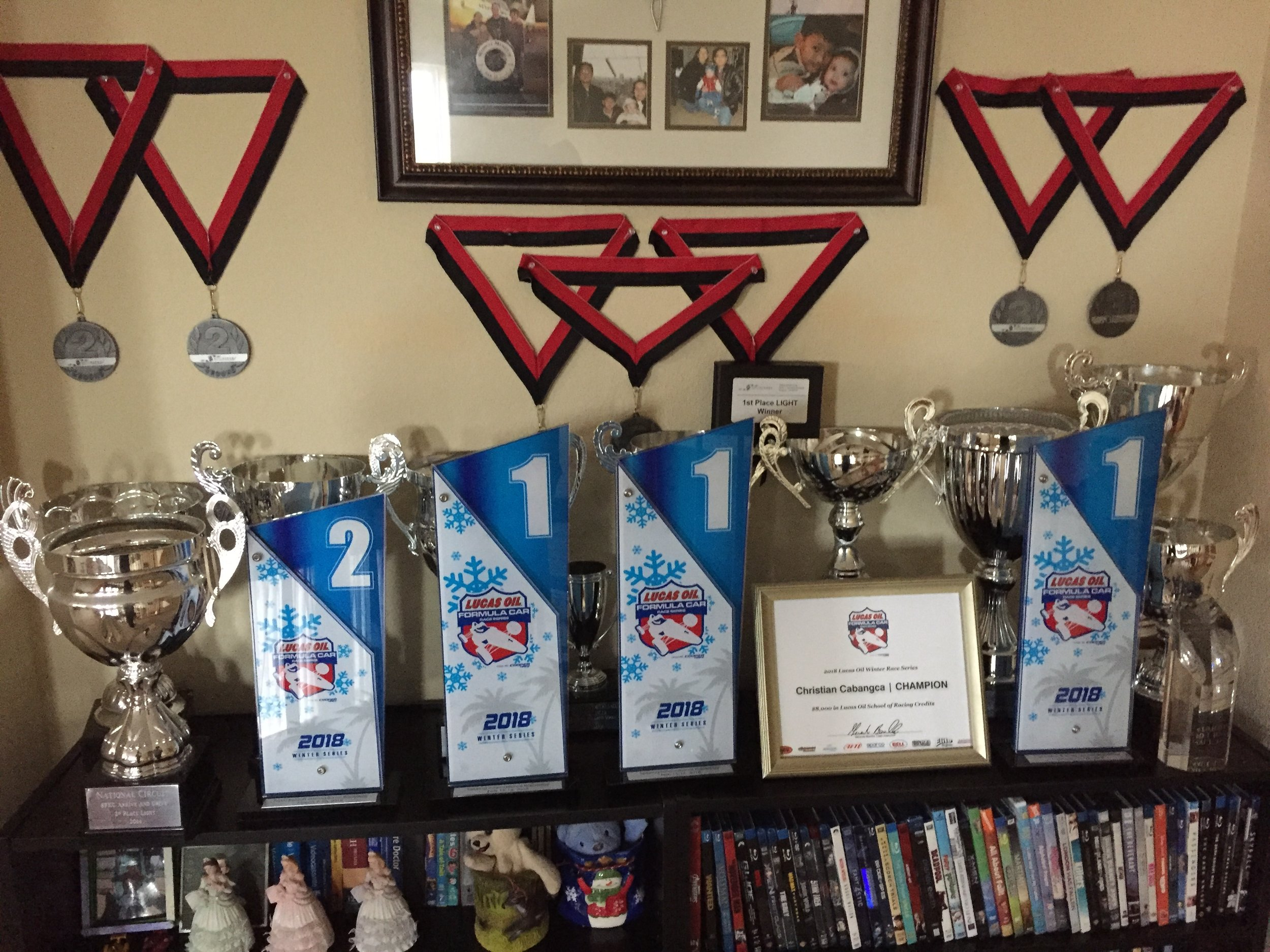 All of my racing trophies I have won in my brief time I have been racing  .