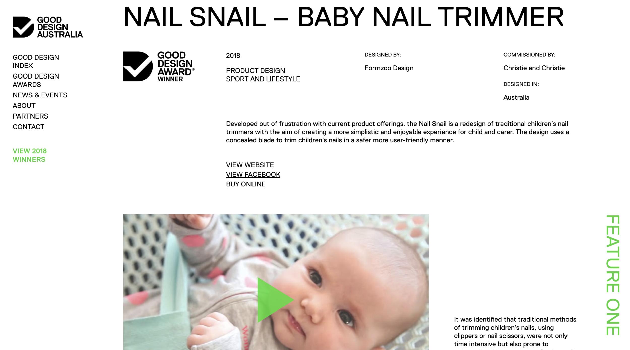 The Nail Snail Feature - Good Design Awards Australia 2018