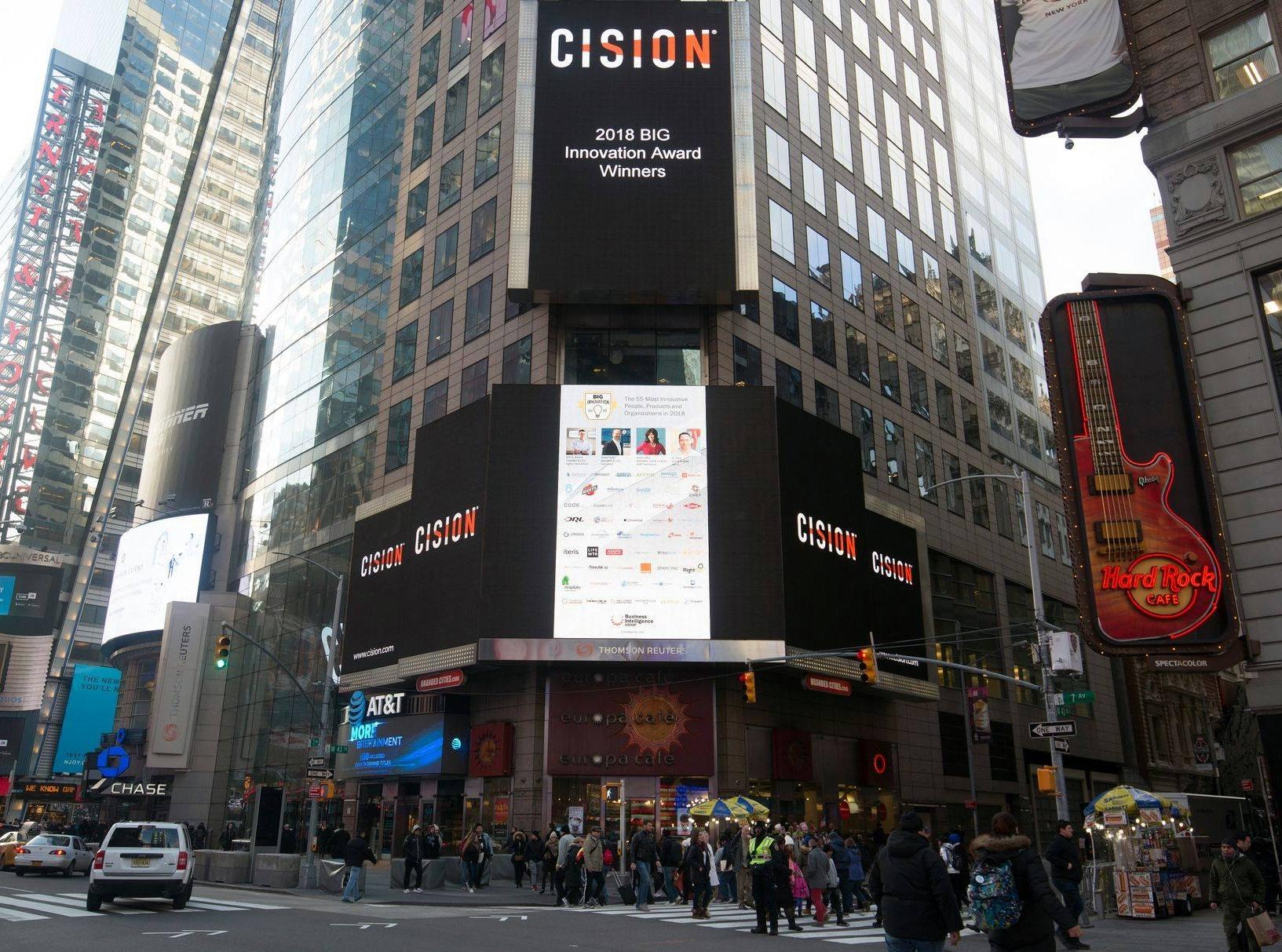 Times Square 2018 - Big Innovation Award Winners