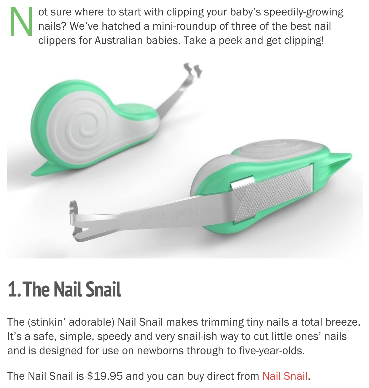 Babyology Nail Snail Best Baby Nail Clippers