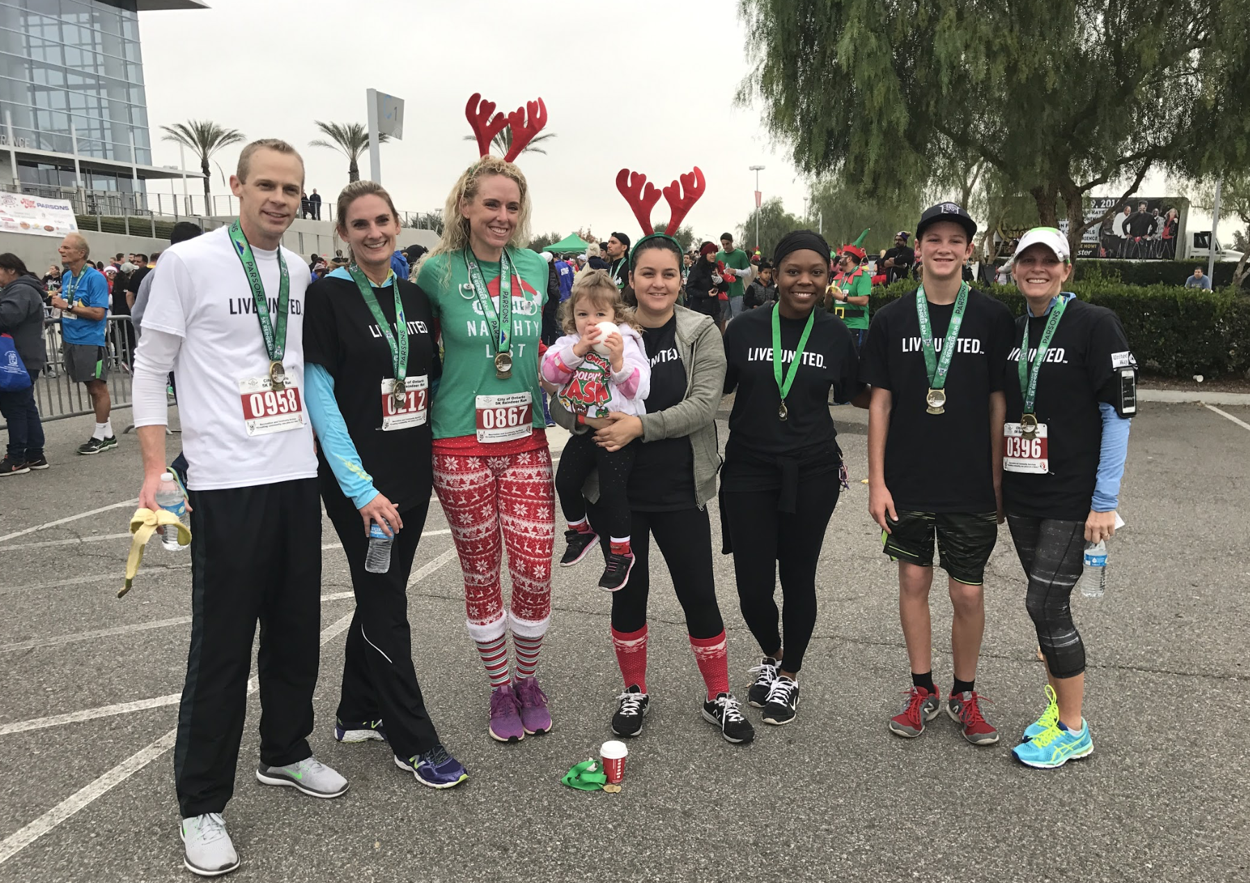 Members of the  Inland Empire United Way  Team joined for a photo at the 2016  5K Reindeer Run and Rudolph's Dash  benefiting the Ontario-Montclair Promise Scholars