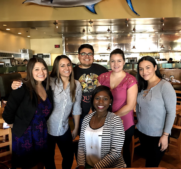 My coworkers and I at Market Broiler in Ontario, CA on October 12, 2017. The photo was taken by our server.