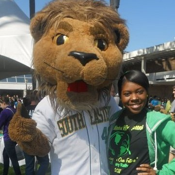 During my senior year at Franklinton High School, I participated in my last Literary Rally at Southeastern Louisiana University and took a photo with Roomie the Lion.