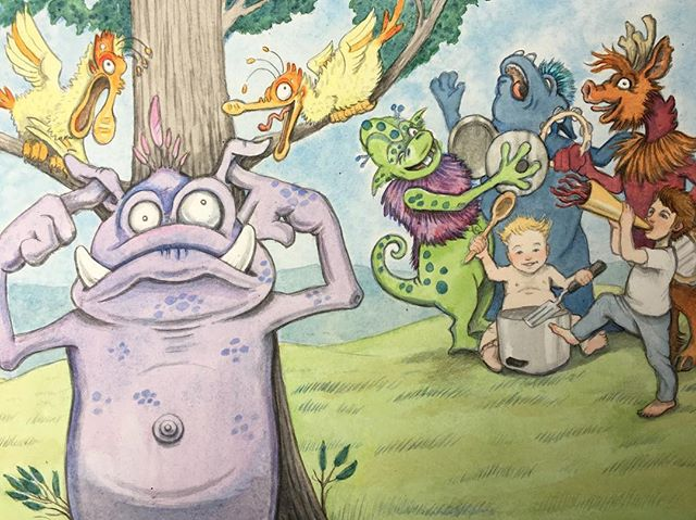Not all monsters care for a good ruckus. #watercolour, #childrensbookillustration, #sillymonsters
