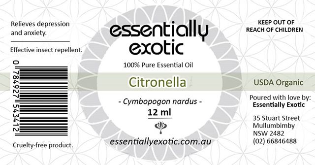 2016 label design for Byron Bay's 'Essentially Exotic' 100% oils 💆‍♂️💆‍♀️