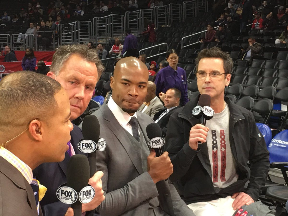 Tim Kitzrow with Mike Hill, Don MacLean, and Corey Maggette of Fox Sports.