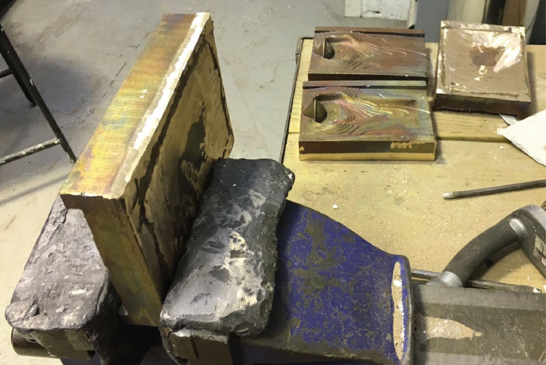 chasing step / grinding the edges and welds