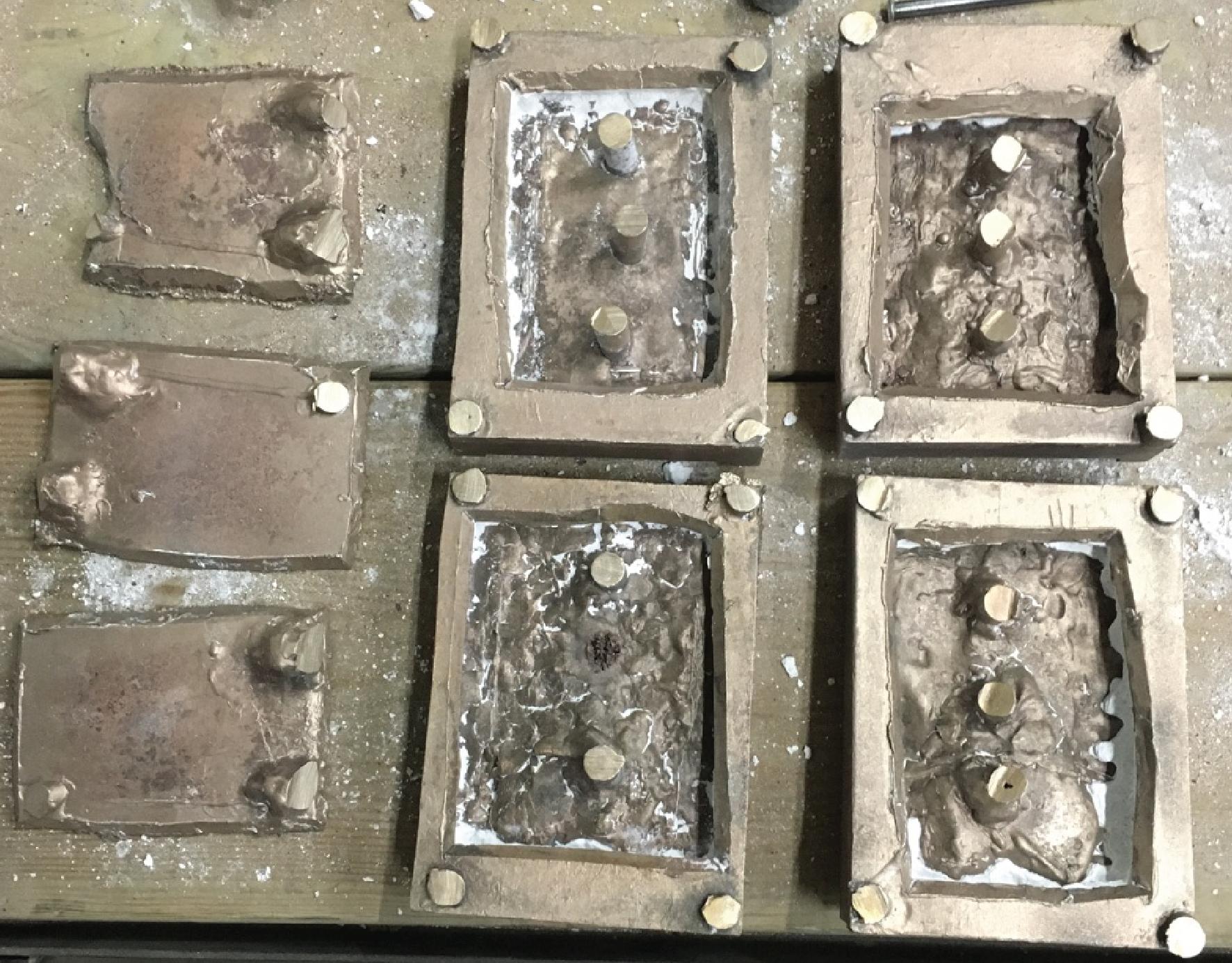 backs after removing the ceramic shells