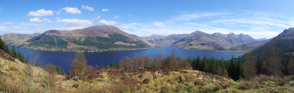 The view from the Bealach Ratagain looking over Loch Duich toward the Five Sisters of Kintail.