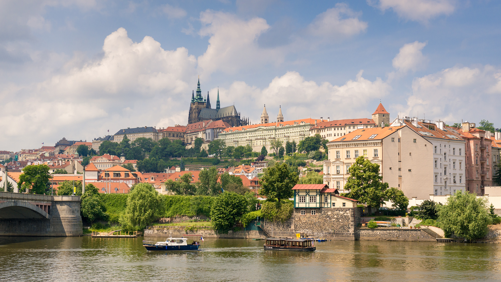 Looking across the Vltava at St. Vitus' Cathedral on the hill.