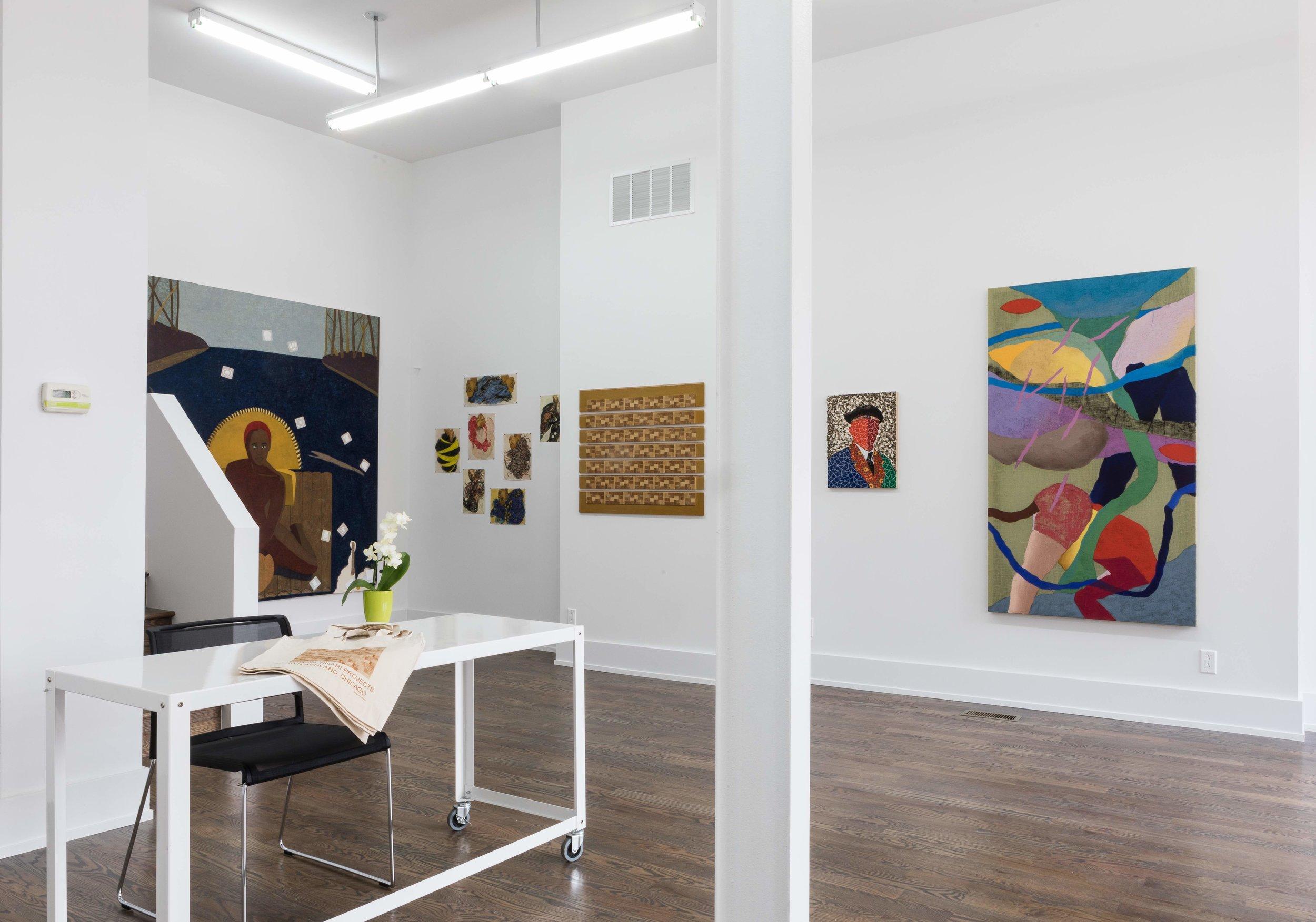 "Installation view: ""Automythography: Mequitta Ahuja, Kambui Olujimi, Kaveri Raina, Ato Ribeiro, Alex Yudzon,"" July 8 - August 30, 2017. Anastasia Tinari Projects, Chicago, IL.Photo: Michael Tropea."