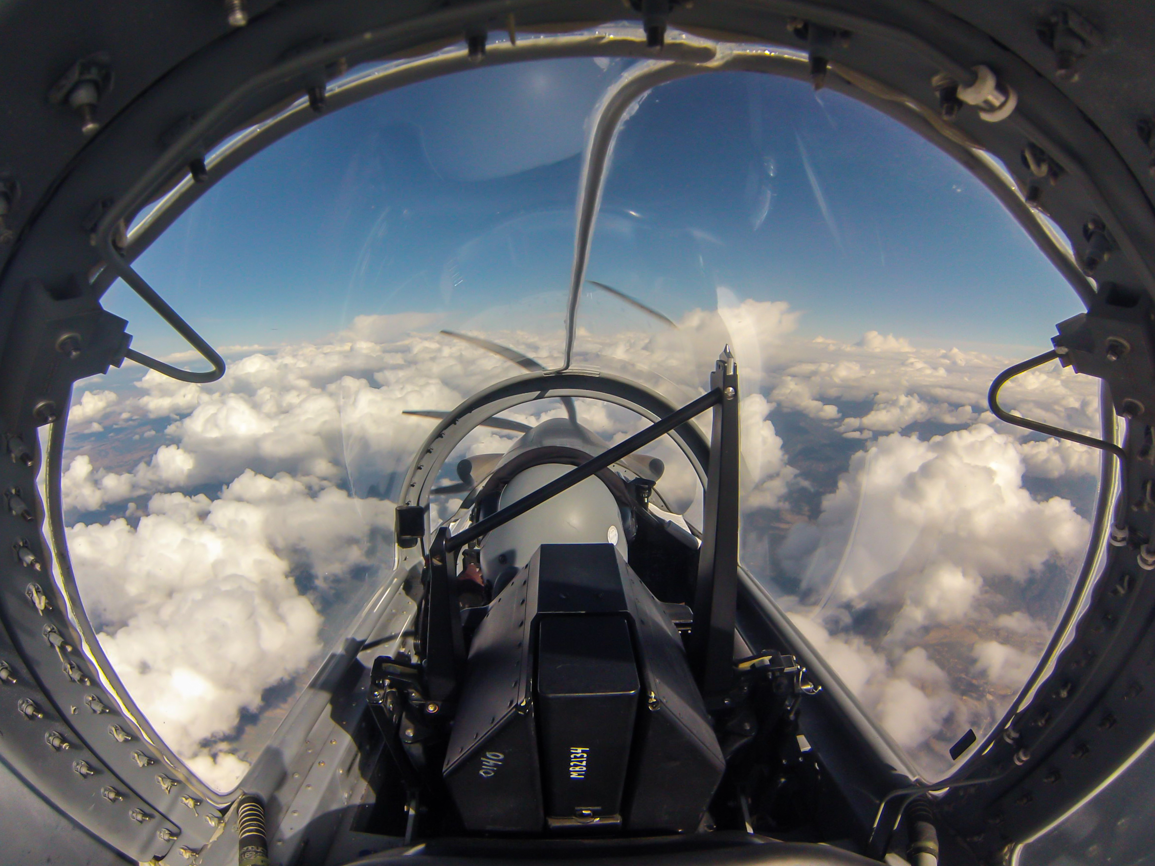 A cool shot from the rear seat while up at altitude enroute to Lethbridge