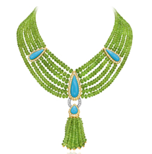 Multi-strand beaded Peridot Necklace with Turquoise.png