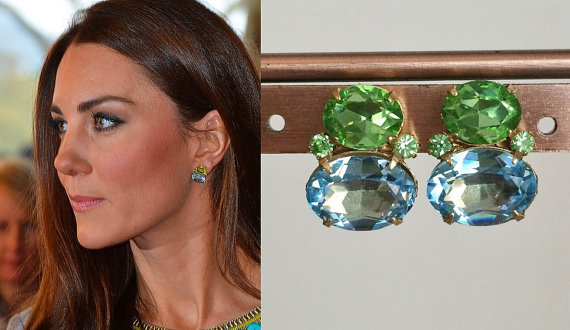 Kate Middleton with Peridot and Aquamarine Earrings.jpg