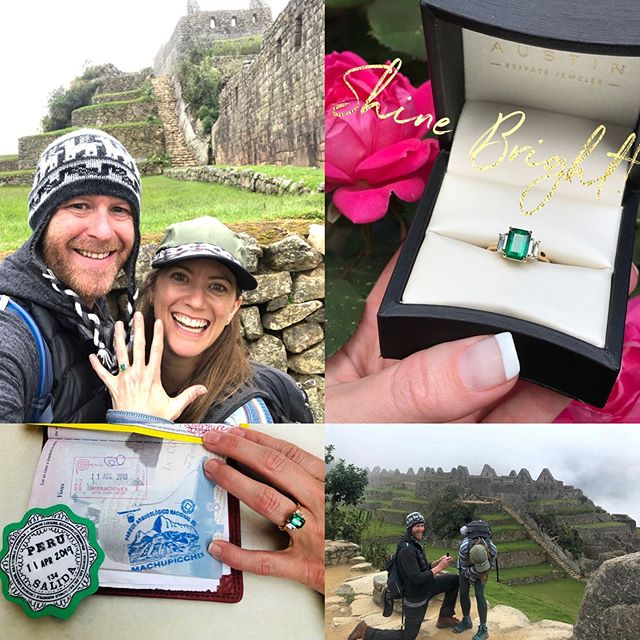 Can you say magical engagement proposal?! 💚💚💎💎💚💚 This amazing couple was so fun to work with and they choose a luscious emerald cut, emerald flaked by emerald cut diamonds set in 18kt yellow gold.  They headed out for a once in a lifetime trip to Peru 🇵🇪 and climbed to the top of Mt. Machu Picchu where he surprised her and popped the question....She said YES and the real journey begins. 💎  I love being a part of these special moments and it truly makes my heart so happy! Congratulations on your next adventure!💗 #shesaidyes . . . #peru #machupicchu #emeraldengagementring #emerald #diamonds #threestonering #austintexas #austinbride #bridetobe #atxlove #austinluxury #customdesign #privatejeweler #atxlife #bride #magical #stunning #congratulations #liveyourbestlife #heputaringonit #austinprivatejeweler #shinebright 🌟