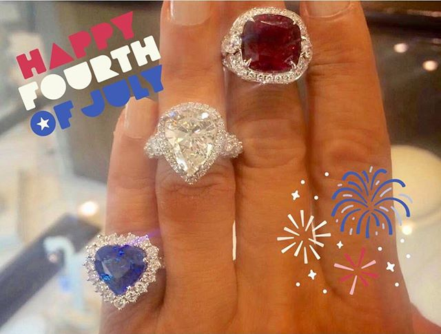 These are my kind of fireworks! 💥💥❤️💎💙💎❤️💎💙 Happy 4th of July! 🇺🇸 🇺🇸 . . . #ruby #sapphire #diamond #redwhiteblue #america #happy4thofjuly ❤️💎💙 #fireworks #blingbling #independenceday #merica #landofthefree #usa #austintexas #atxjewelry #austinluxury #privatejeweler #austinprivatejeweler #shinebright 🌟 🌟 🌟