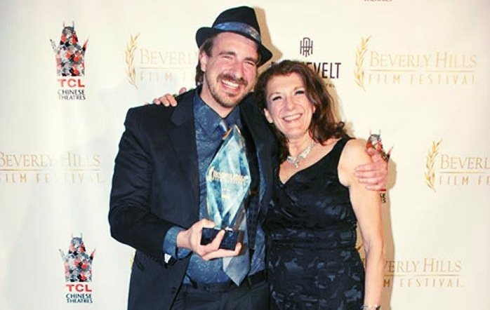K.T. Froehlich and her son, Levi A. Taylor, co-authors of The Darkness at The Beverly Hills Film Festival