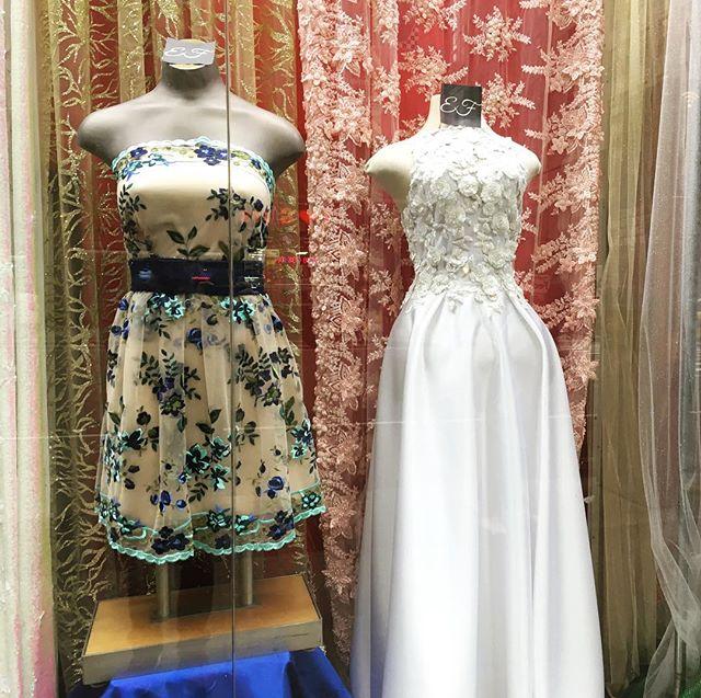 New Ebad Fabrics Display Dresses #ebad #fabrics #ebadfabrics #fabric #nyc #newyork #garmentdistrict #fashion #fashionblogger #designer #design #new #dress #bridal #summer #floral #fabricstore #beautiful #stunning #silk #fashionista #lace #prom #prom2k17 #prom2017 #summerdress