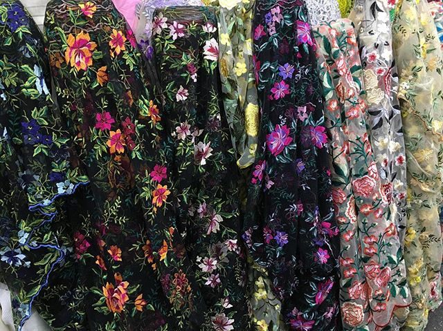 It's like a garden in here! #New #Ebad #Fabrics #Floral #Embroidered #Laces #new #halloween #fabric #nyc #garmentdistrict #flower #stunning #beautiful #designer #dress #fashion #style #fabricstore #fashiongram #sew #sewing #colorful #fall #style