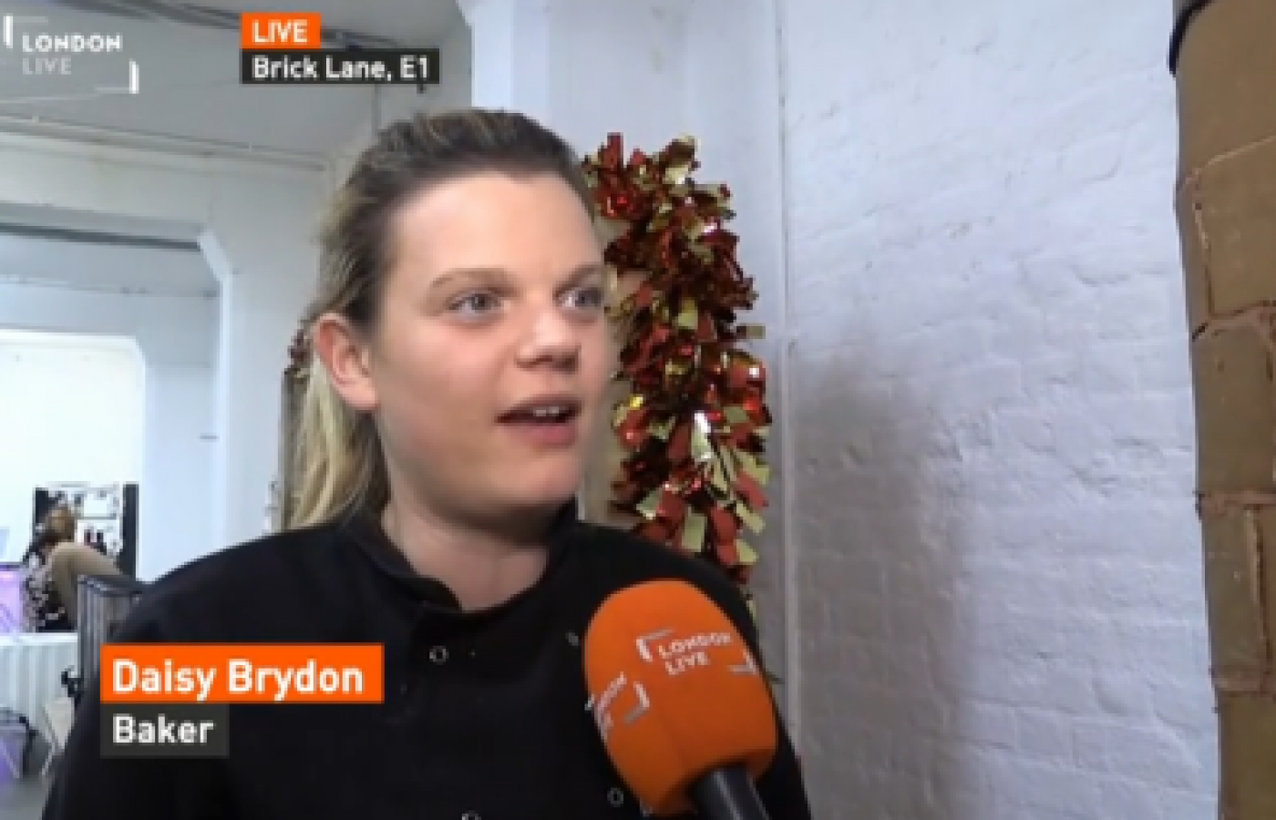 London Live interview about the making of the 8ft gingerbread chimney at Trewman Brewery
