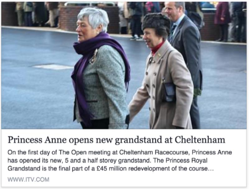 Princess Anne opens new grandstand at Cheltenham