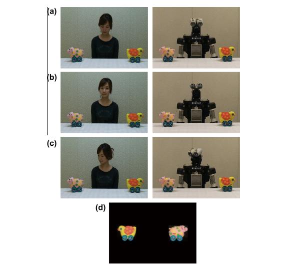 Figure 1. Eye gazing – human vs. robot (Okumura et al., 2013, p.128).