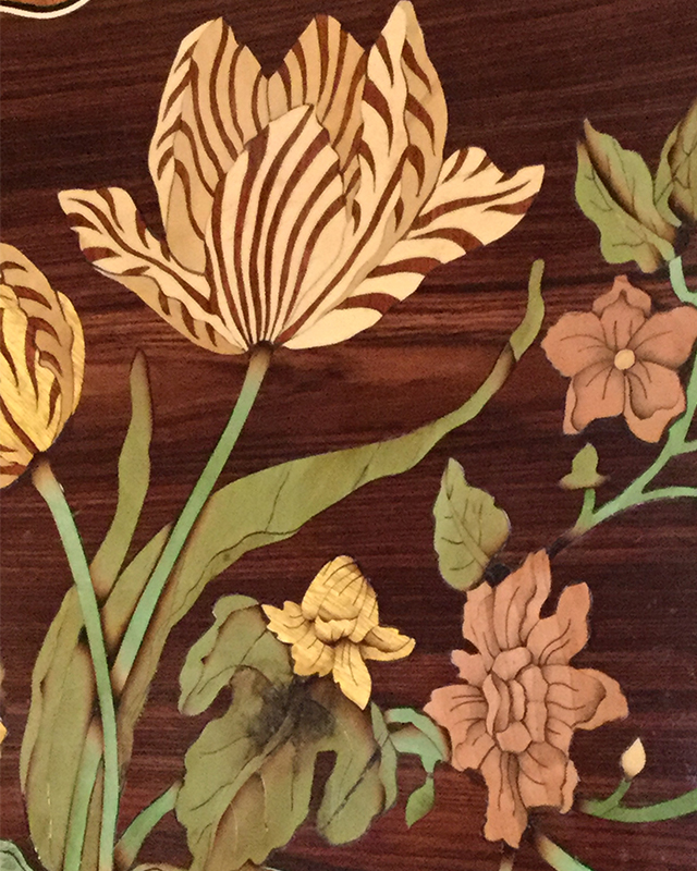 Alton Bowman, marquetry table top detail