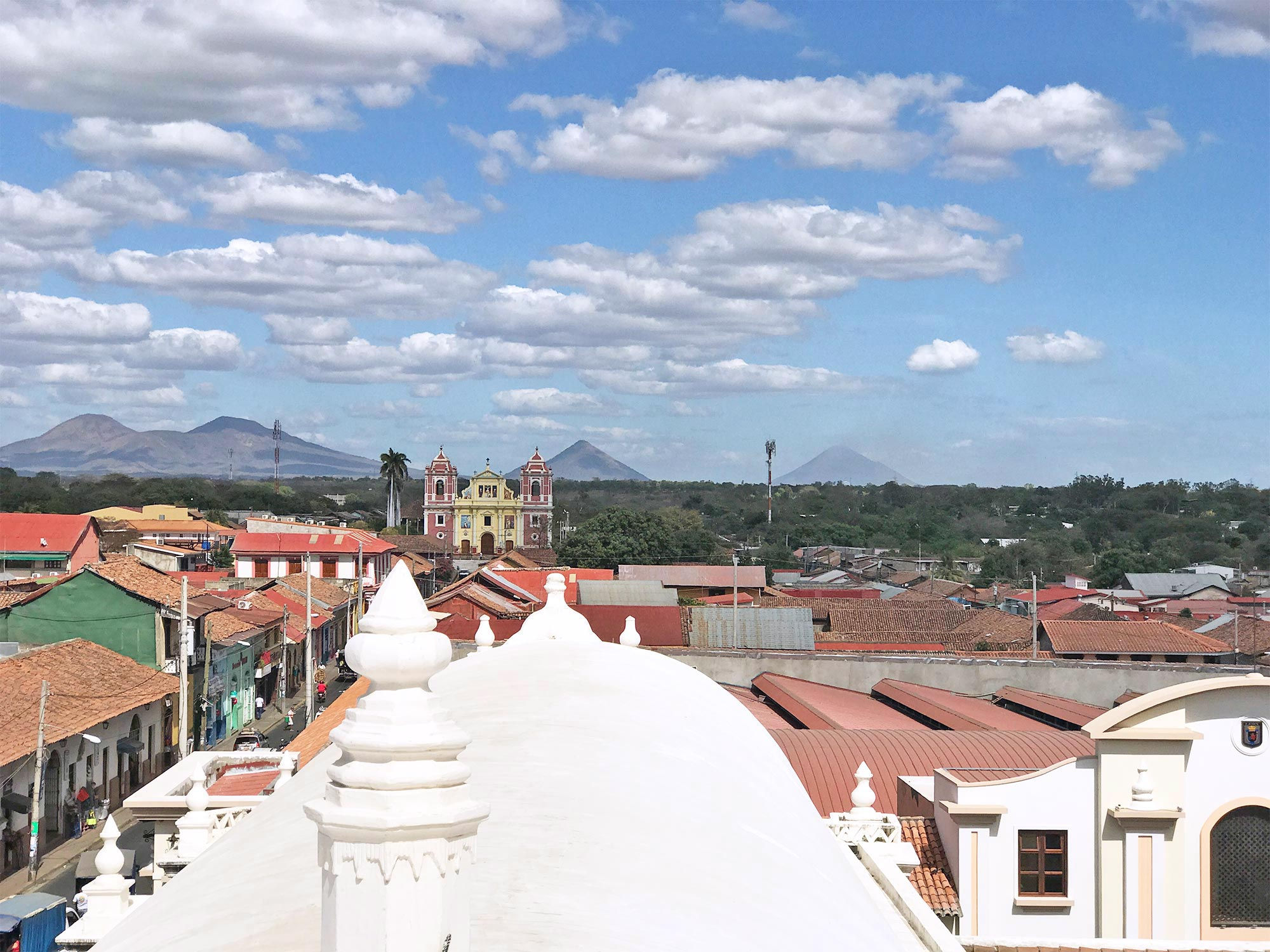 volcanoes and view of Leon on the Cathedral rooftop