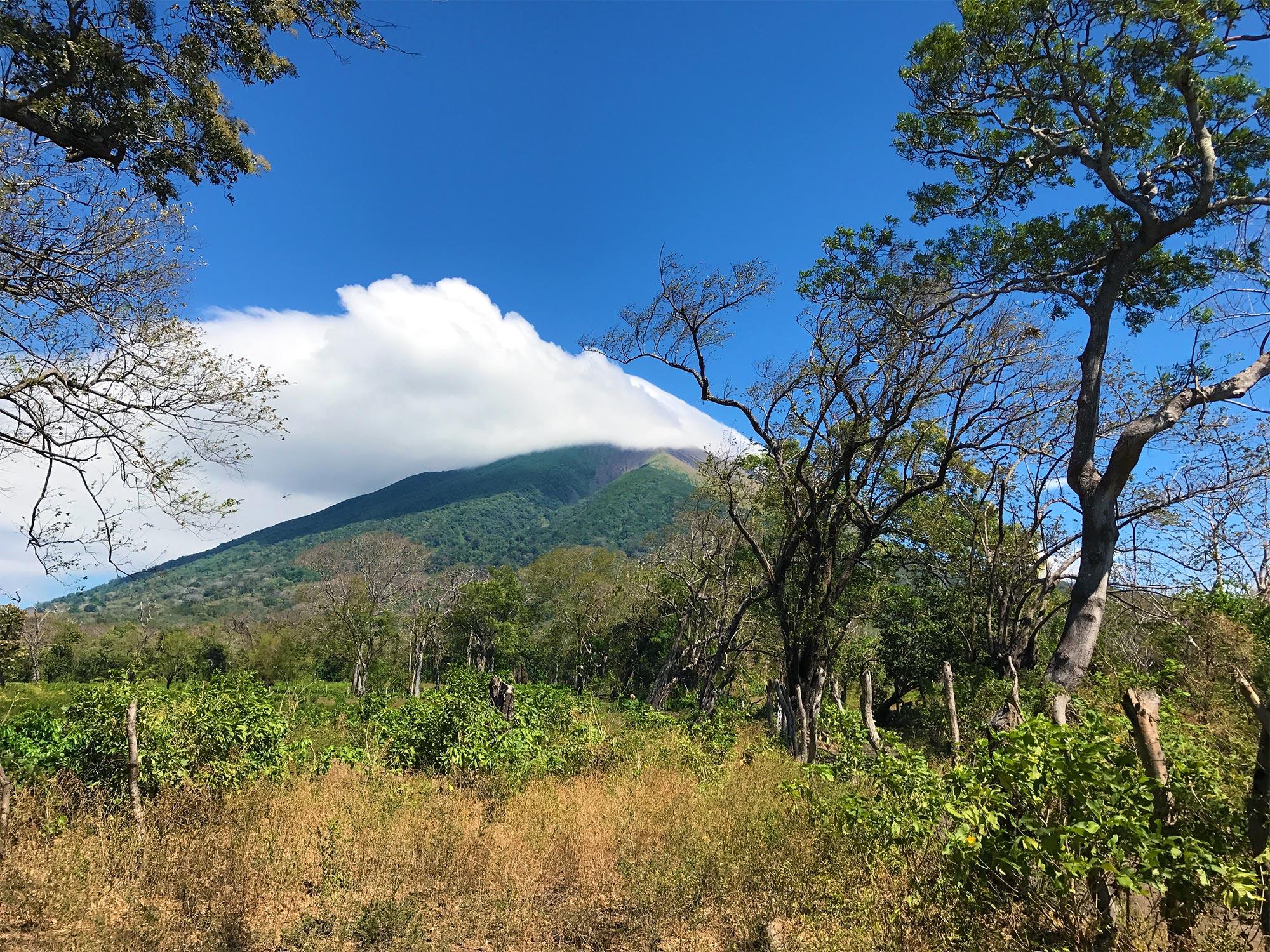Concepcion volcano - trees and a massive cloud at it's peak