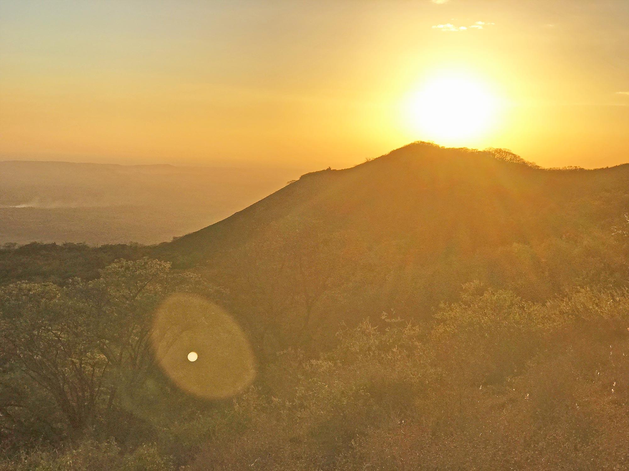 sunset while hiking El Hoyo volcano in Nicaragua