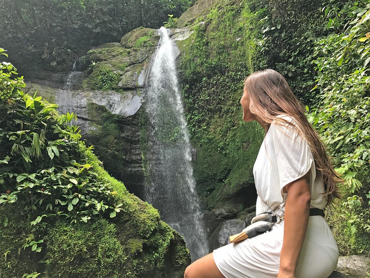 sapphire & elm founder, Stephanie at Bri Bri waterfall