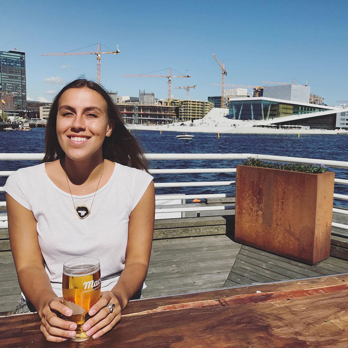 Sapphire & Elm Travel co-founder,   stephanie  , enjoying the oslo sunshine