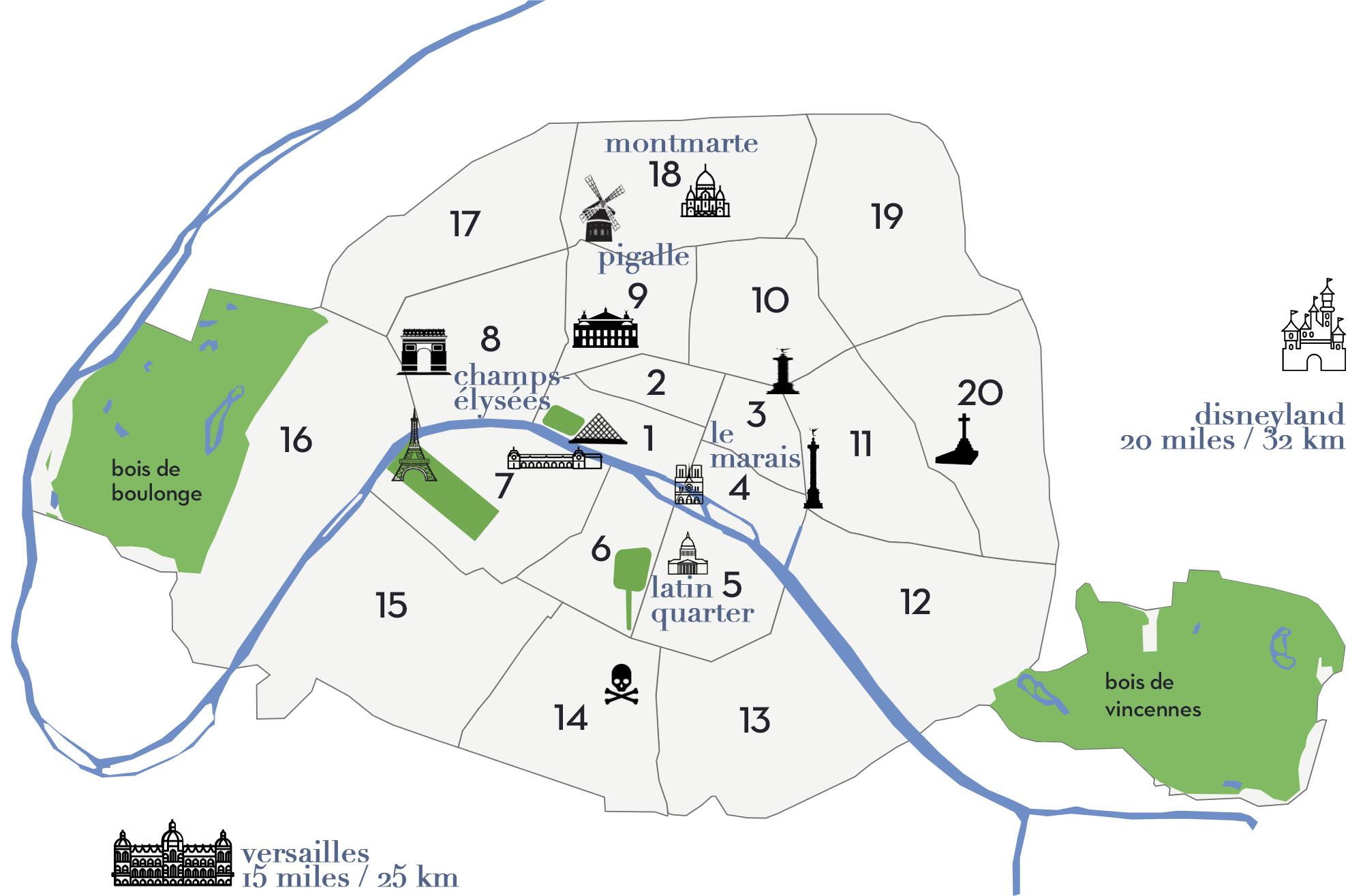 Map of Paris Arrondissements   Paris Neighborhoods Explained