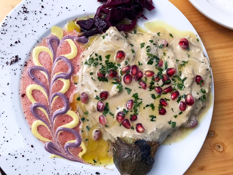 vegan eggplant dish at Mana Mana