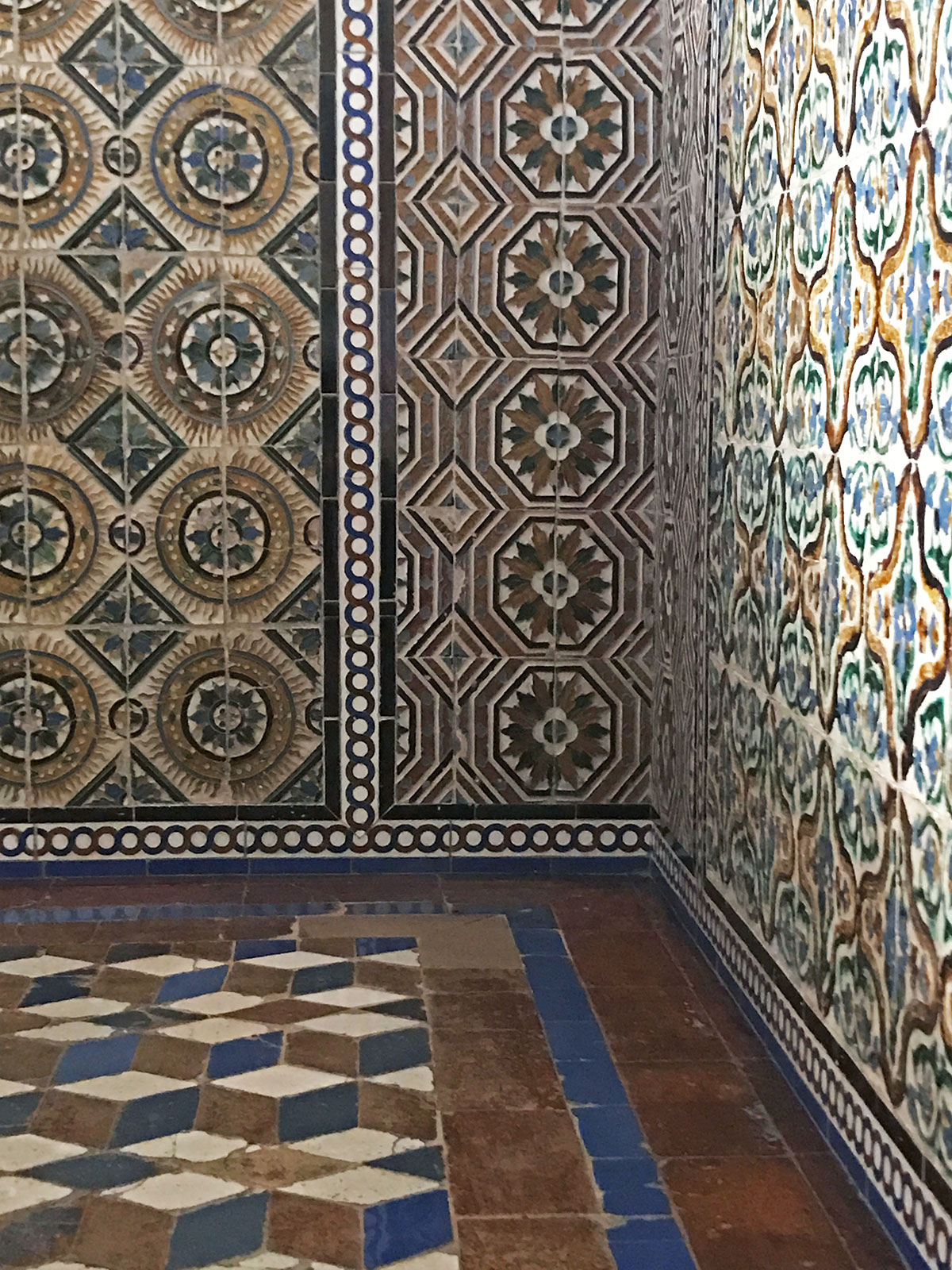 Beautiful, intricate tile work at the Alcázar in Seville, Spain