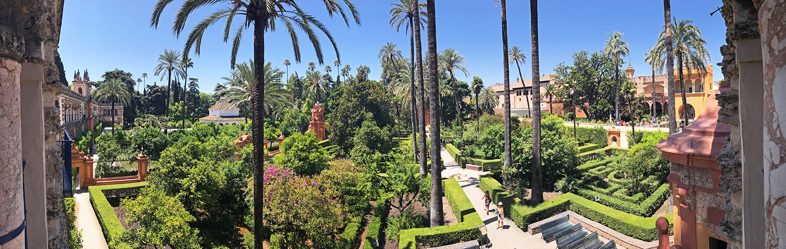 Views of the garden from the Grotto Gallery, Alcázar, Seville, Spain