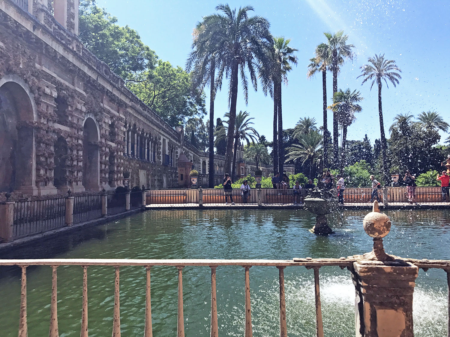 Mercury Pond at the Alcázar Seville, Spain with the grotto gallery to the left