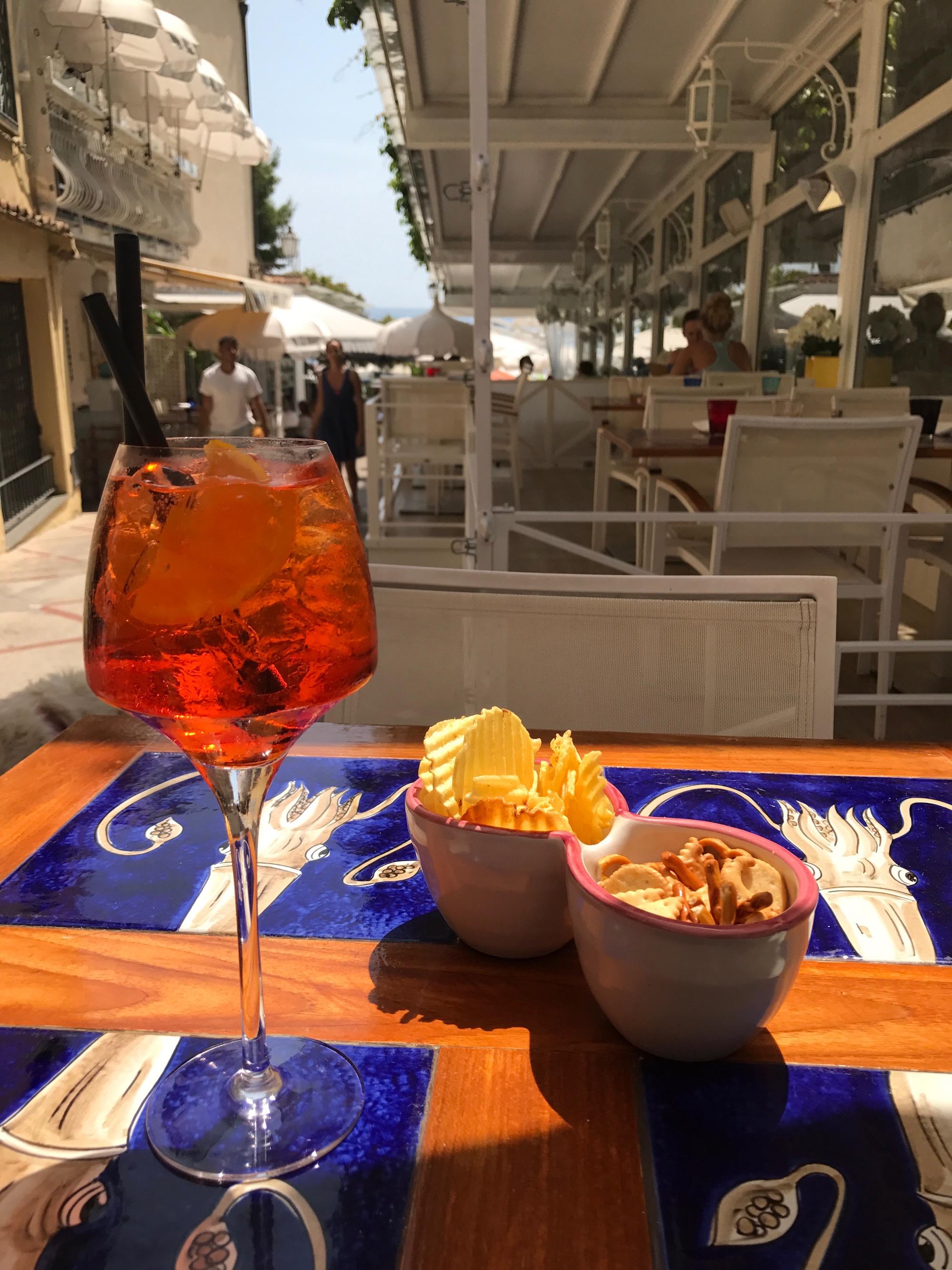 Aperol Spritz in Positano, Amalfi Coast, Italy