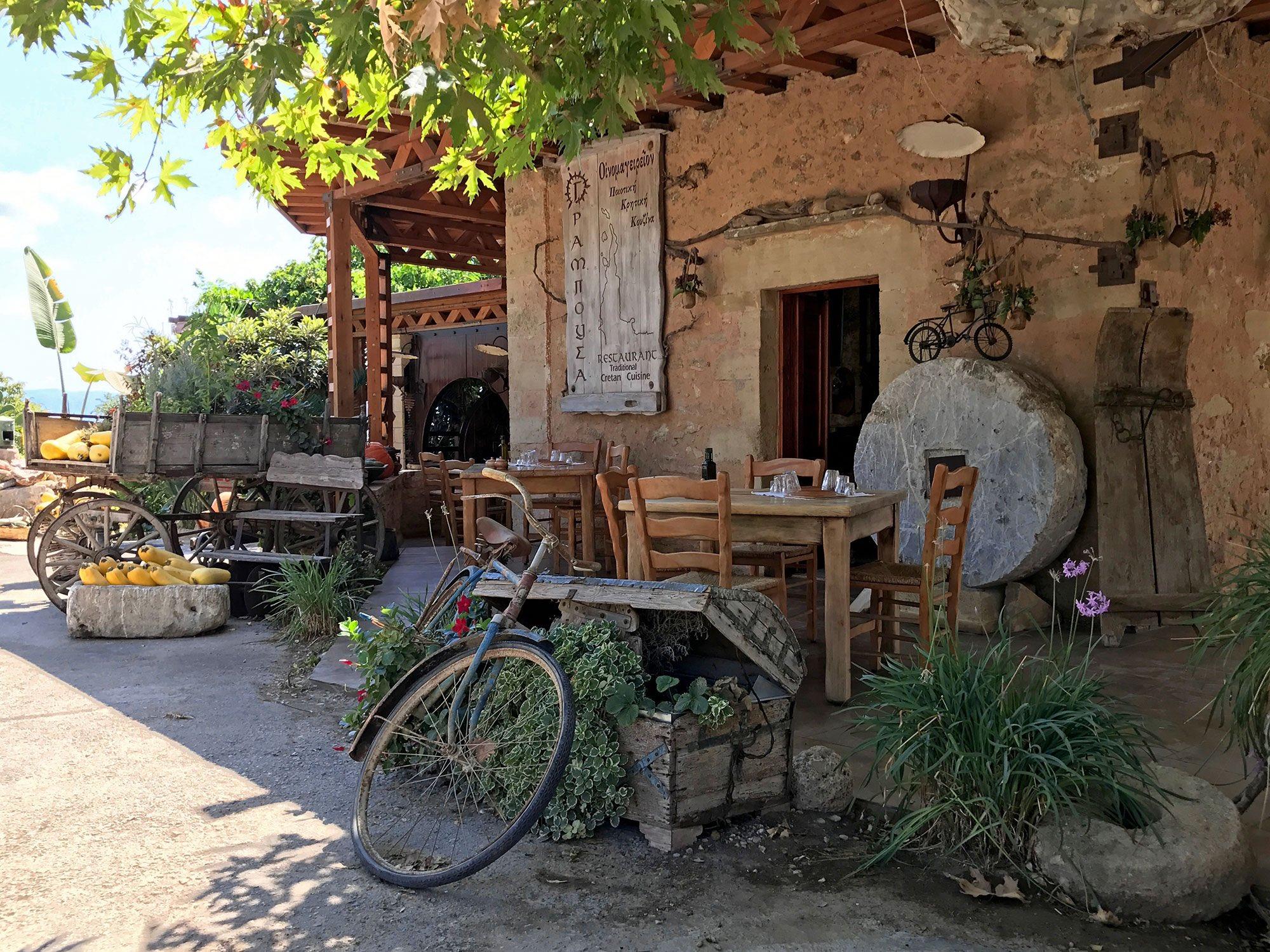 Gramboussa Restaurant. Kaliviani, Crete, Greece.