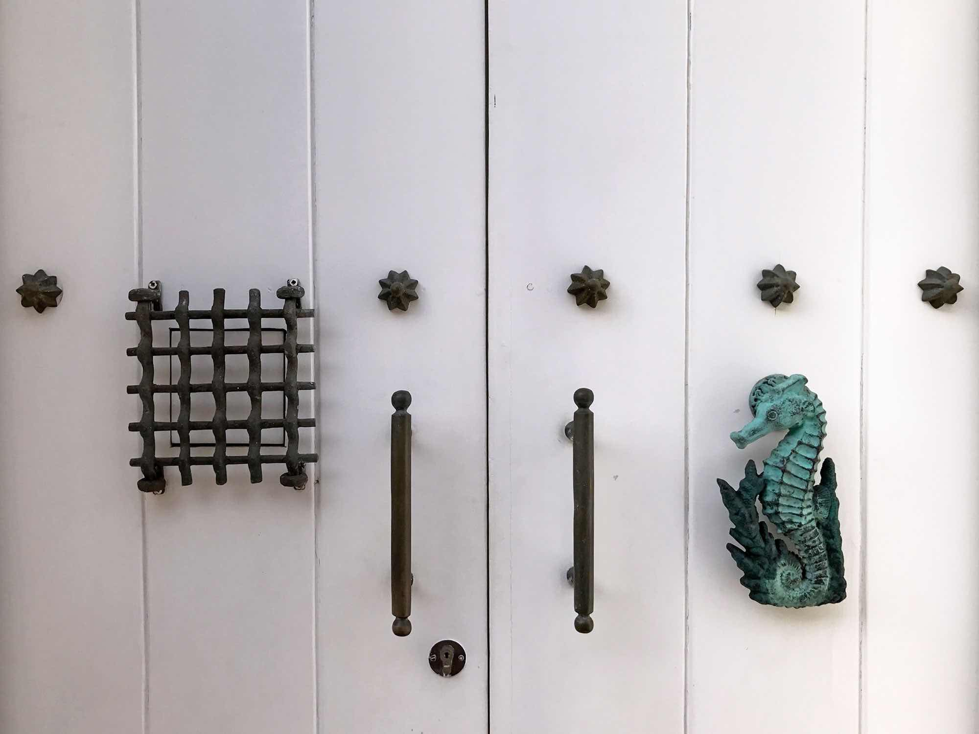 a Seahorse Door knocker in Cartagena, Colombia. also known as an aldaba