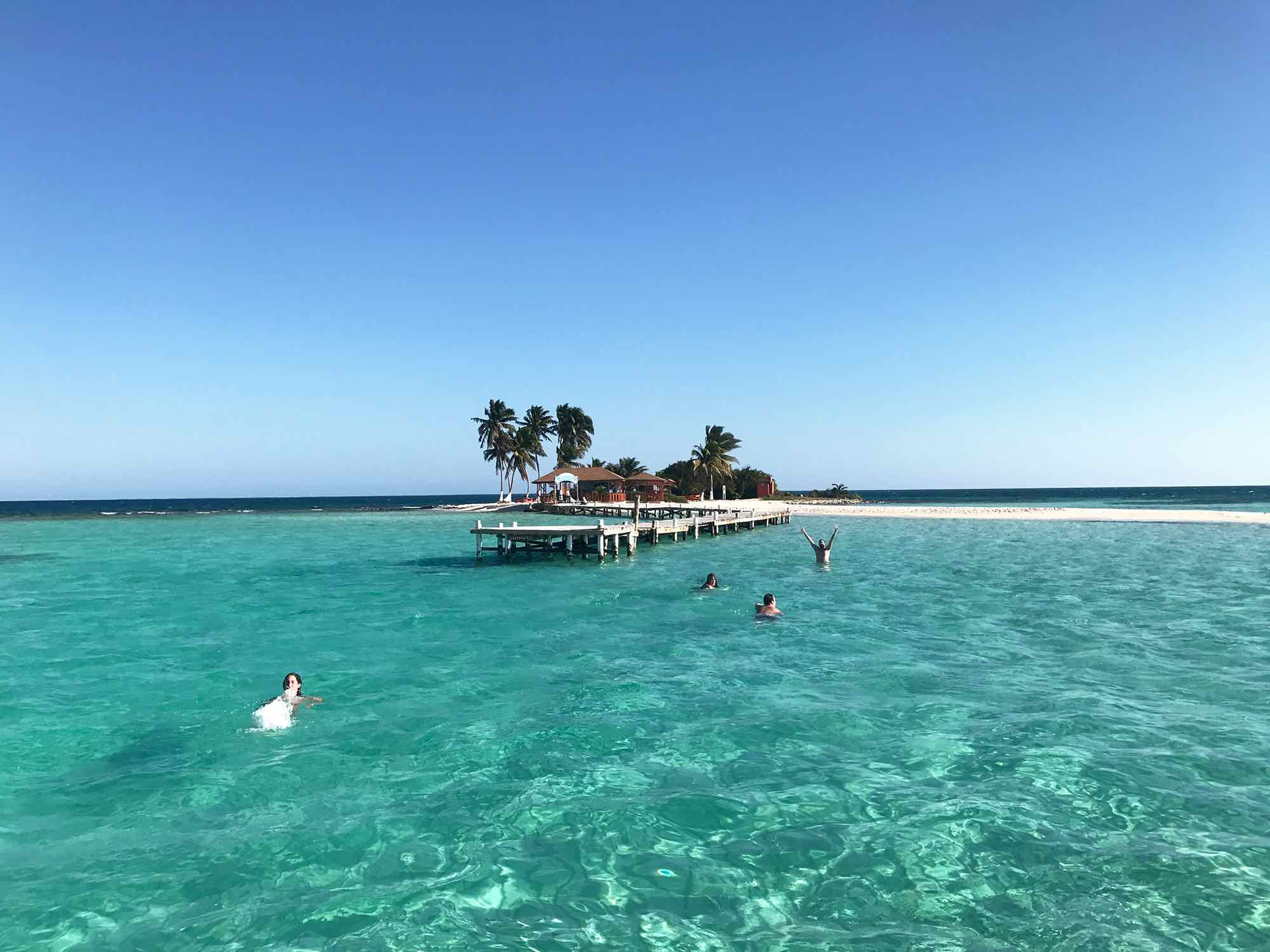 swimming to Goff's Caye | Sailing in Belize