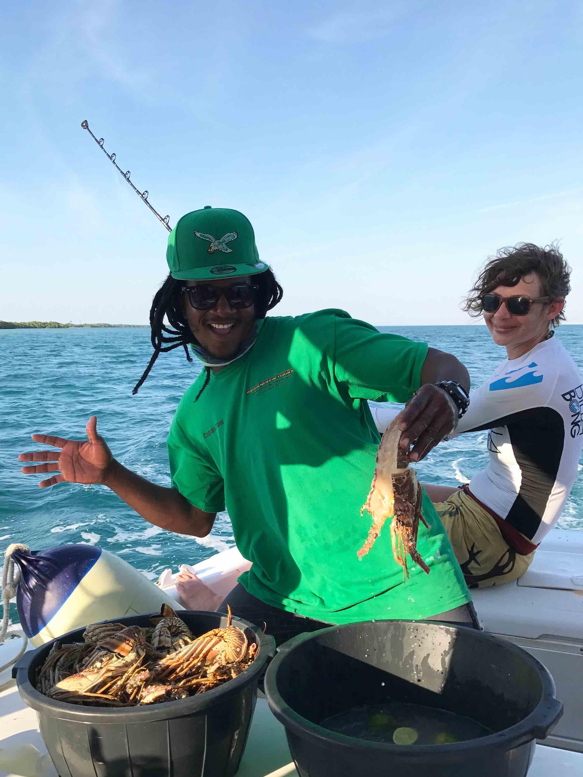fresh lobster on Belize sailing trip