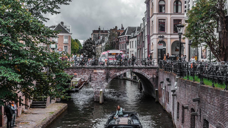 bikes near canal in Amsterdam