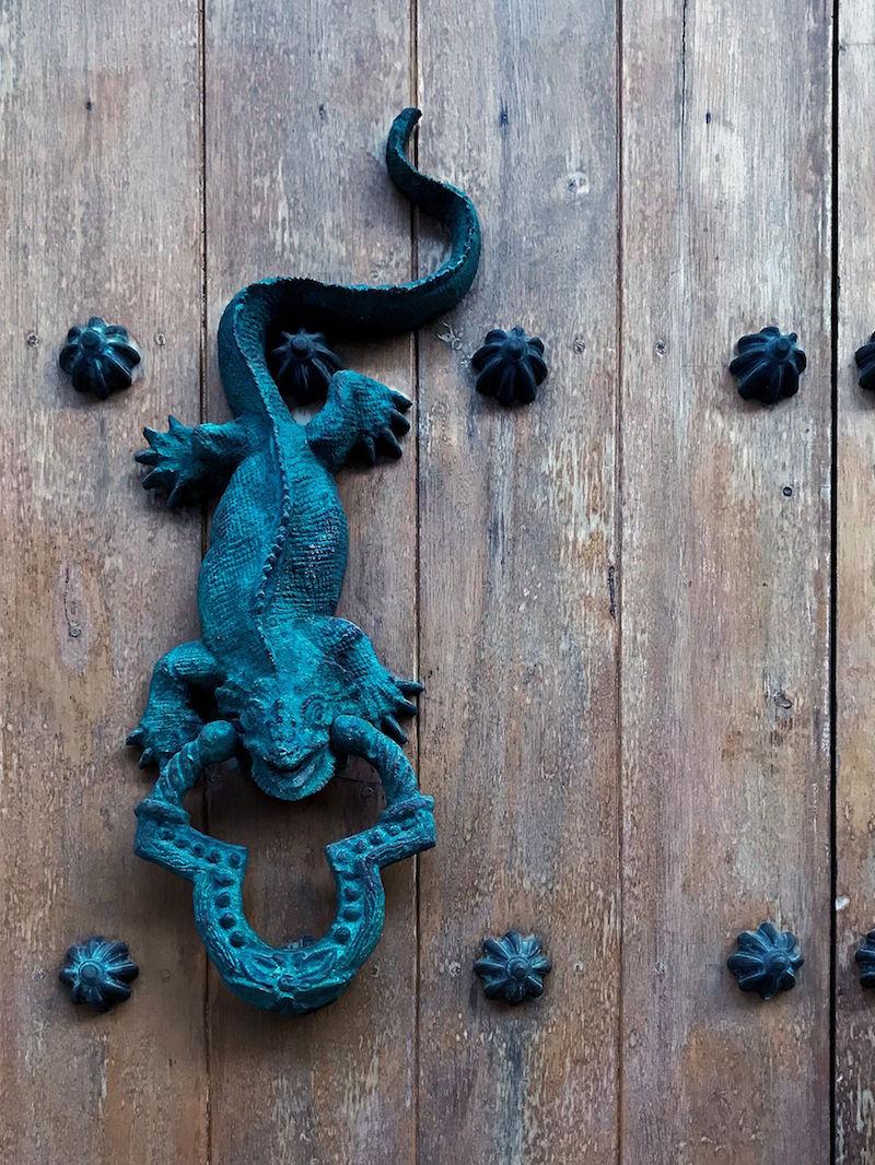 Iguana door knocker | Doors and Door Knockers of Cartagena, Colombia | pictures of Cartagena, Colombia